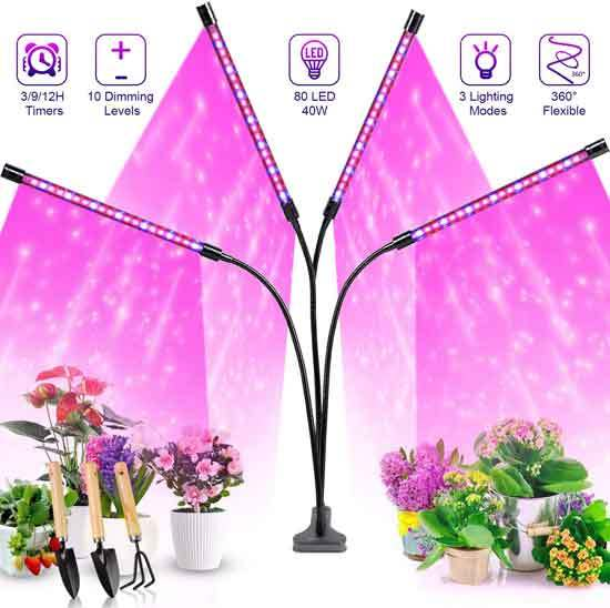 Grow Lights Plant Lights for Indoor Plants Semai 40W 80 LED Lamp Bulbs with 3 9 12H Timer 10 Dimmable