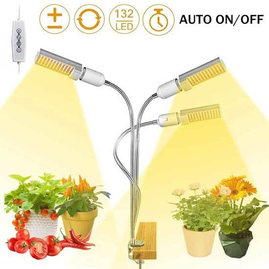 LED Grow Light for Indoor Plant 68W 132 LED Timing Grow Lamp Auto On Off