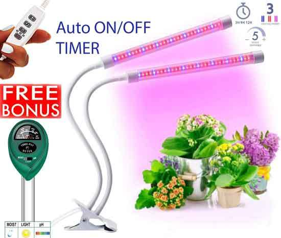 Plant Lights for Indoor Plants Plant Light with 64 Full Spectrum LED Adjustable Dual Head Gooseneck Growing Lamps with Stand
