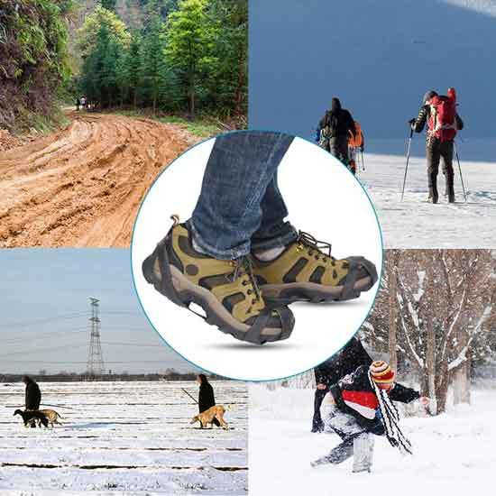 StyleZ 10 Stud Spikes Anti Slip Snow Ice Grips Over Shoe Traction Cleats Rubber Crampons Slip on Stretch Footwear 2