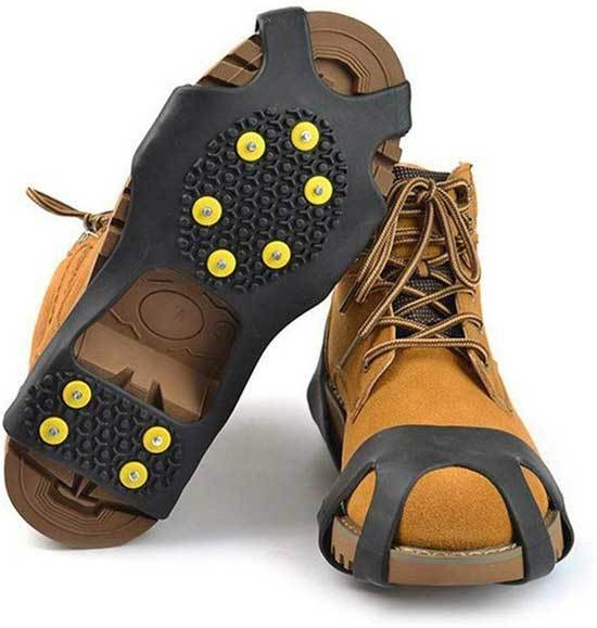StyleZ 10 Stud Spikes Anti Slip Snow Ice Grips Over Shoe Traction Cleats Rubber Crampons Slip on Stretch Footwear